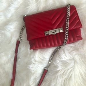 Aldo red quilted chevron shoulder crossbody bag